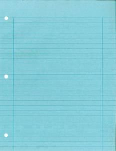 Colored notebook paper that came in pink, blue, and purple