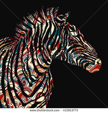 Animal watercolor illustration silhouette zebra.  - stock photo