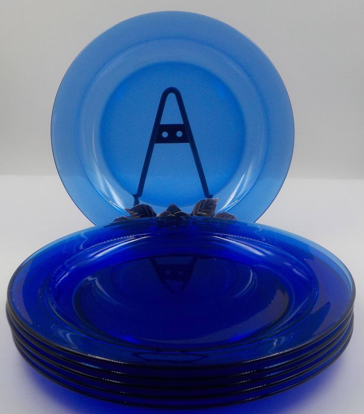 Vintage - Cobalt Blue - Plates - Dinner Plates - Set of 6 - Arcoroc - Made in France by InfinityCrafts on Etsy