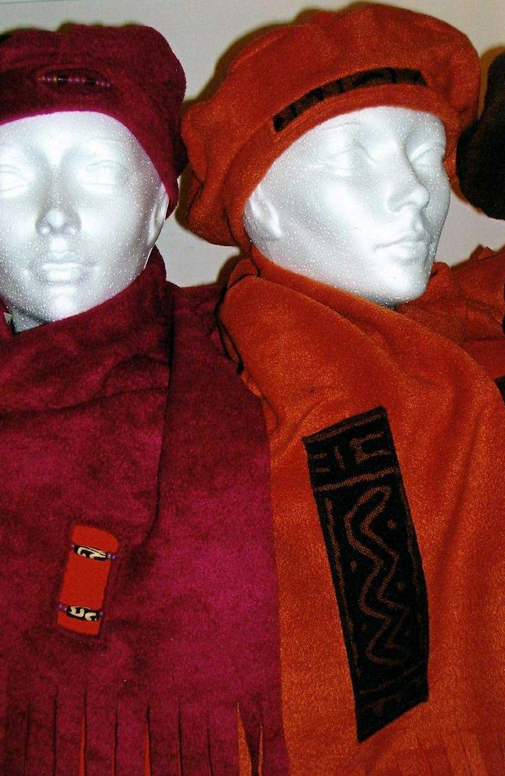 Beads and mudcloth on fleece sets.