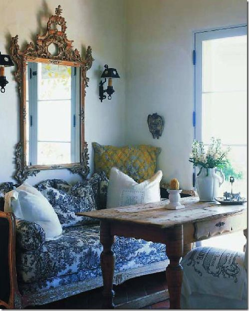 Toile Blue French; Vintage Mirror with table settee Provencal.