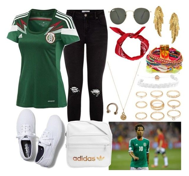 """Mexico Soccer Game Outfit"" by musiclover0406 ❤ liked on Polyvore featuring Keds, adidas, Ray-Ban, Bianca Pratt, LeiVanKash, Forever 21, Domo Beads, Hipanema, outfit and fun"