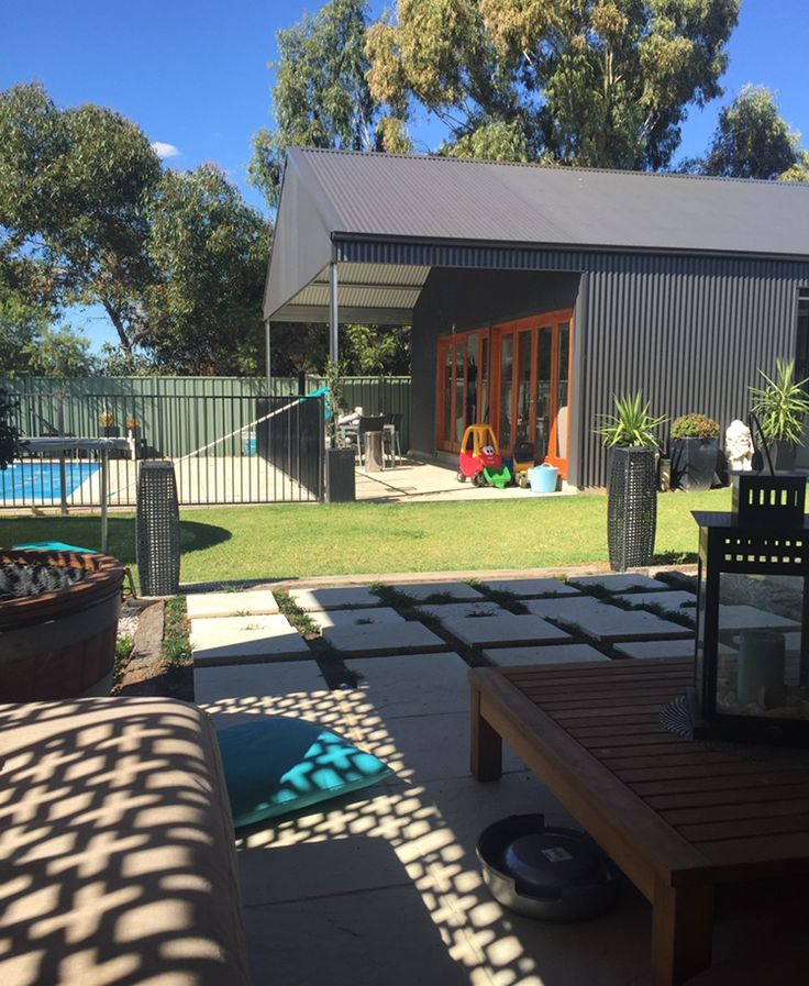 Customised pool-house and entertainment area designed and constructed by THE Shed Company Mudgee. Site specifically engineered for their client's residential backyard area in Mudgee.