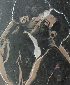 Adam Adach (Polish, b. 1962), French Kissing, 2013. Oil and acrylic with glitter on canvas, 100 x 80 cm.