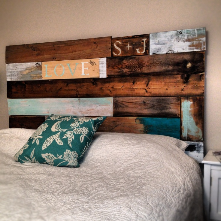 Diy headboard made from recycled barn wood and pallets for Recycled headboards