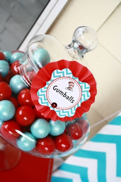 Dr. Seuss Thing 1 and Thing 2 1st Birthday Party for Twins - Twin - Red and Aqua Blue - Chevron & Polka Dots - Candy Sweets Dessert Table - Buffet - candy label ideas