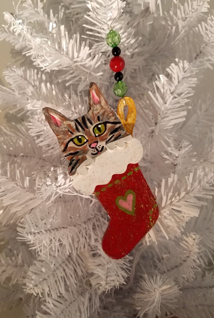 Tabby cat ornament - Tabby Cat Ornament Kitten In A Stocking Ornament Handmade Hand Painted Polymer Clay Made Ready To Ship Gift Box Included Personalize