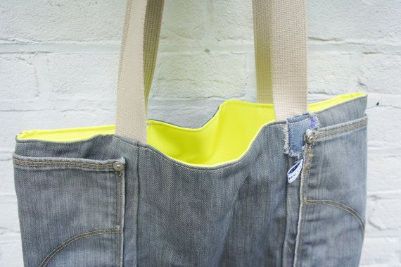 Tote Denim Yellow Neon Bag by cityanimals on Etsy
