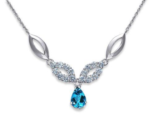 Gorgeous 2.25 carats total weight Pear Shape London Blue Topaz & White CZ Gemstone Pendant Necklace in Sterling Silver Rhodium Finish Peora. $48.99