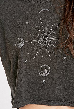 Truly Madly Deeply Moonburst Crop Top in Grey - Urban Outfitters