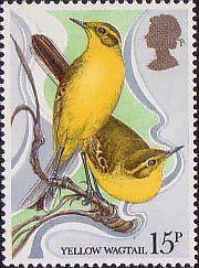 British Birds 15p Stamp (1980) Yellow Wagtails