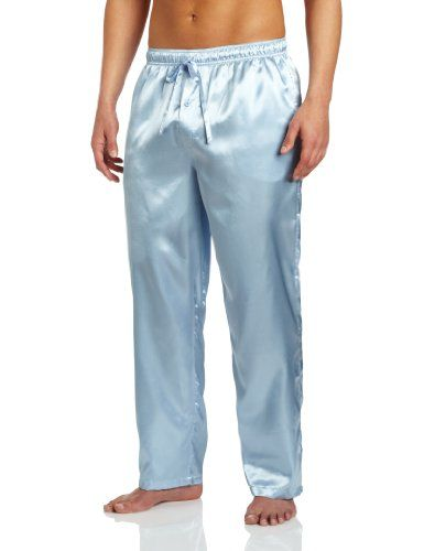 Mens Blue Satin Pajama Pants