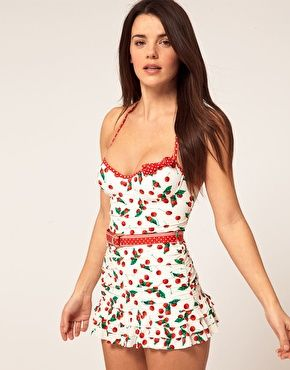 Juciy Couture Cherry Print Swim Dress