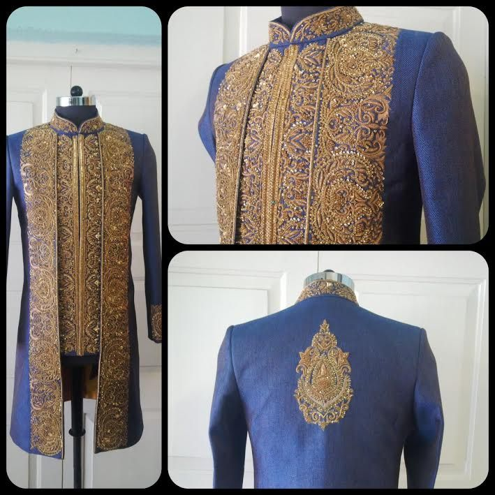 blue grey sherwani by sagar tenali.