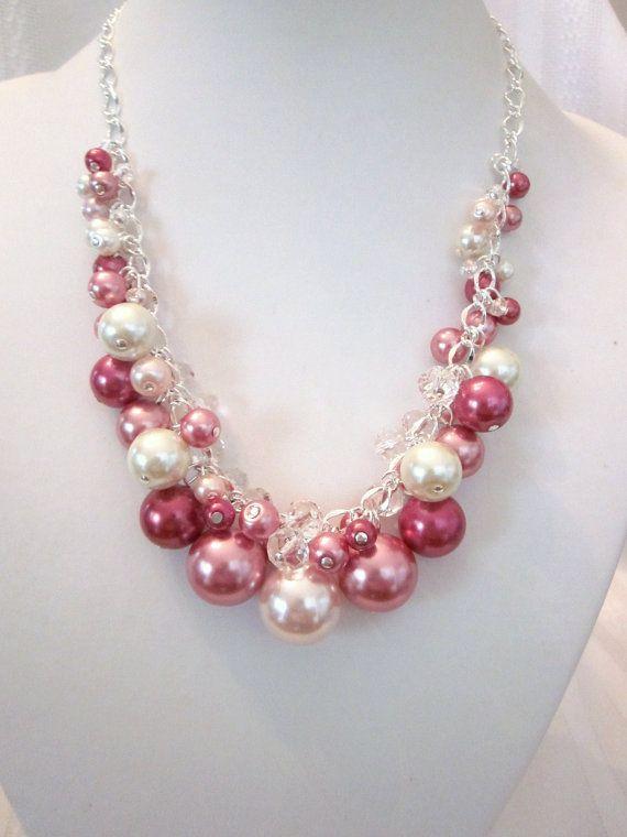Tonos de rosa perla y collar de racimo por CreationsbyCynthia1