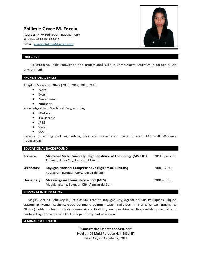 Resume Sample For Fresh Graduate Excellent Resume P Enecio Of 40 Cool And Elegant Resume Samp Job Resume Format Sample Resume Templates Job Resume Samples