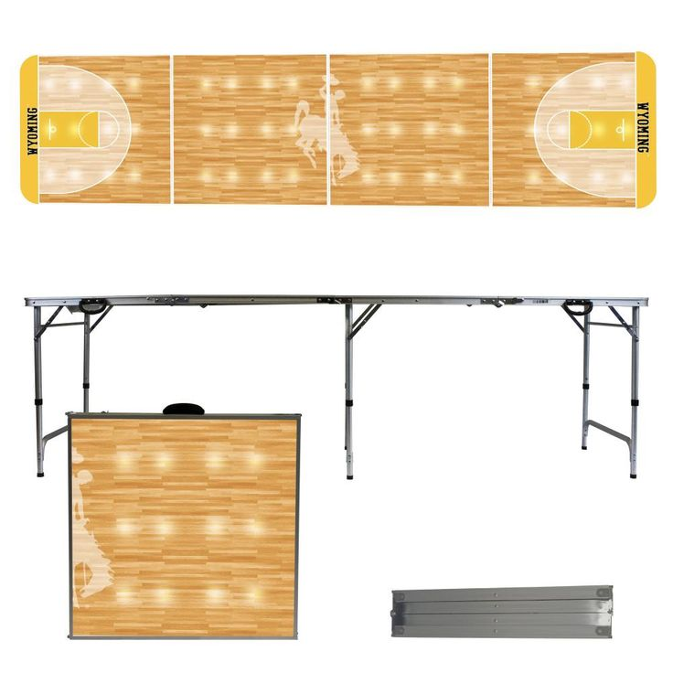 University of Wyoming Cowboys 8 Foot Portable Tailgate and Pong Table