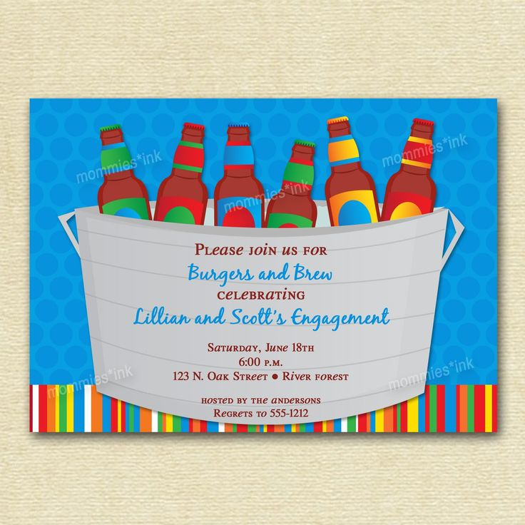 Bucket of Beer Couples Shower Invite - PRINTABLE INVITATION DESIGN by MommiesInk on Etsy https://www.etsy.com/listing/72305063/bucket-of-beer-couples-shower-invite