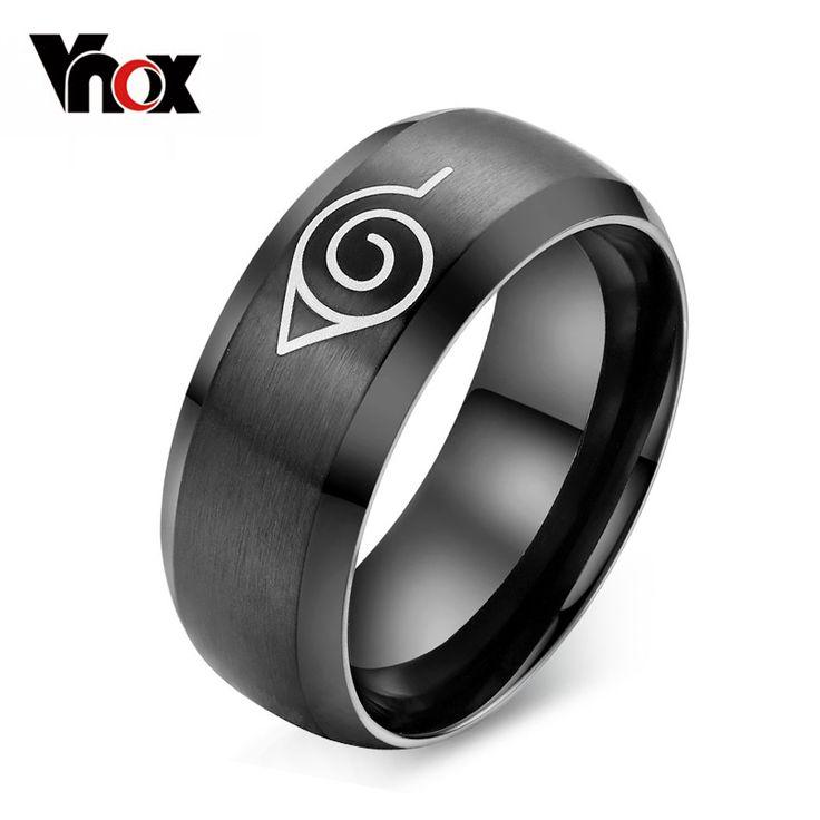 Anime naruto vnox pierścień czarny ze stali nierdzewnej mens pierścień party akcesoria usa rozmiar