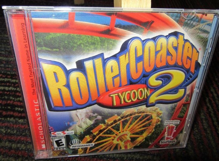 ROLLER COASTER TYCOON 2 WINDOWS PC CD-ROM GAME, SIX FLAGS, WIN 98/2000/XP, GUC