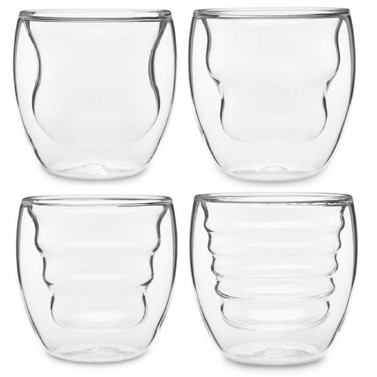 Curva Artisan Series 8 oz. Double Wall Beverage Glasses and Tumblers (Set of 4)