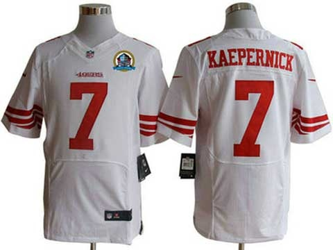 2012 nike nfl jerseys san francisco 49ers 7 colin kaepernick white hall of fames 50th patch