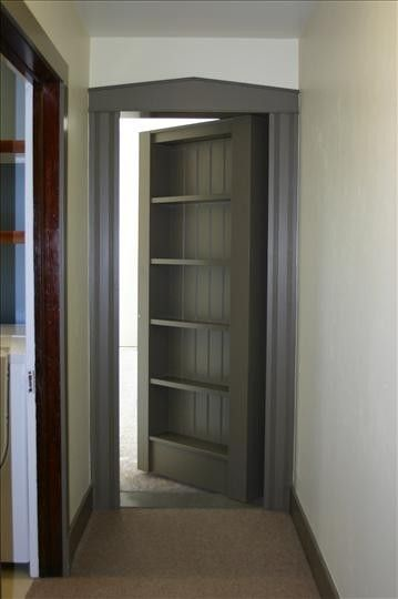 Your standard bookcase-as-door secret room  There's added personality injected into a space when you've got a secret door or secret room. And it helps if that door doubles as a place to keep your books, too.