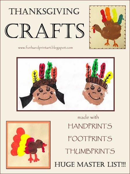 Handprint & Footprint Thanksgiving Crafts for Kids #HandprintHolidays #ThanksgivingCrafts #handprintart