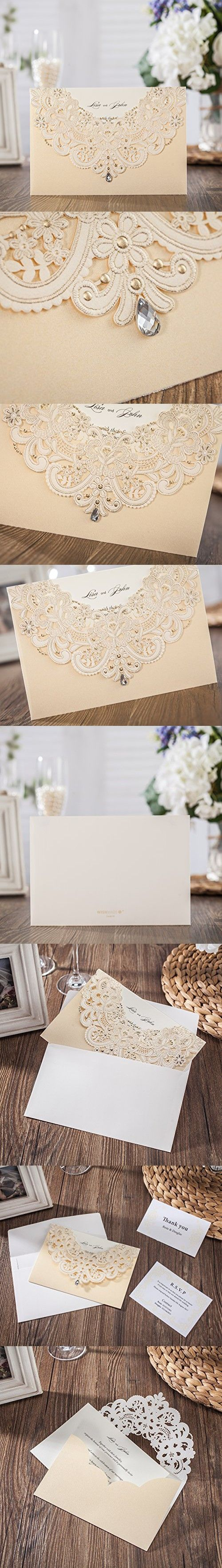 white and gold wedding invitations%0A Wishmade  x Gold Laser Cut Flora  u     Lace Wedding Invitations Kit With  Rhinestone Matched With RSVP