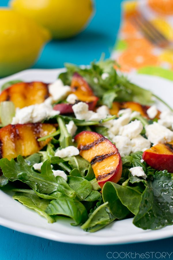 Salad with Grilled Peaches and Feta   cookthestory.com #vegetarian