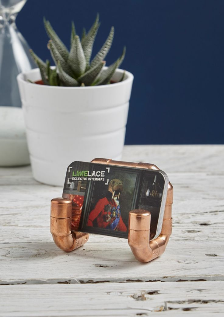 17 imagens sobre business card holders no pinterest cermica this funky copper pipe business card holder if the perfect gift for those who love industrial reheart Gallery