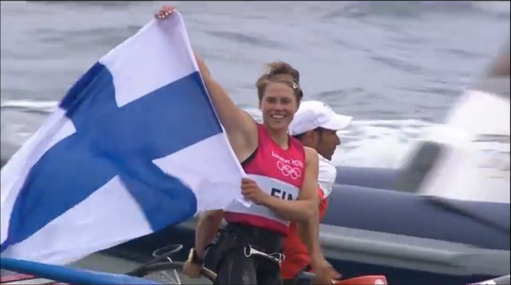 Tuuli Petäjä just won the silver medal in Women's RS-X (Windsurfing)! This was Finland's first medal in the London 2012 Olympics.