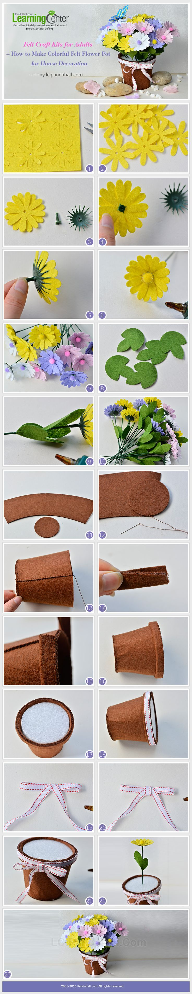 Felt Craft Kits for Adults – How to Make Colorful Felt Flower Pot for House Decoration from LC.Pandahall.com    #pandahall