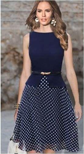 pronta entrega vestido bolinhas azul marinho frete grátis
