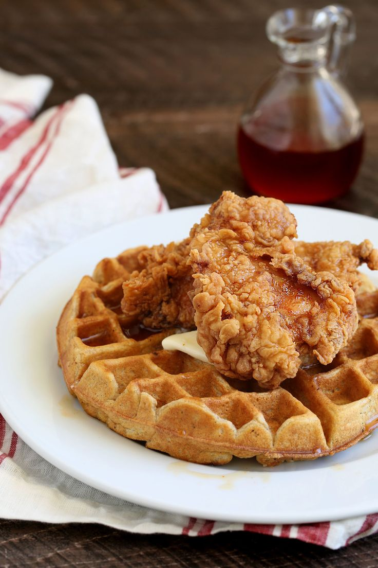 Fried Chicken and Waffles with Hot Sauce Maple Syrup   #infatuation #nomz #eeeeeats