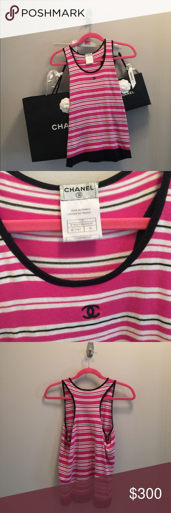 Chanel tank This is not America size. Please make sure to ask questions before buying. Fits like a 4. CHANEL Tops