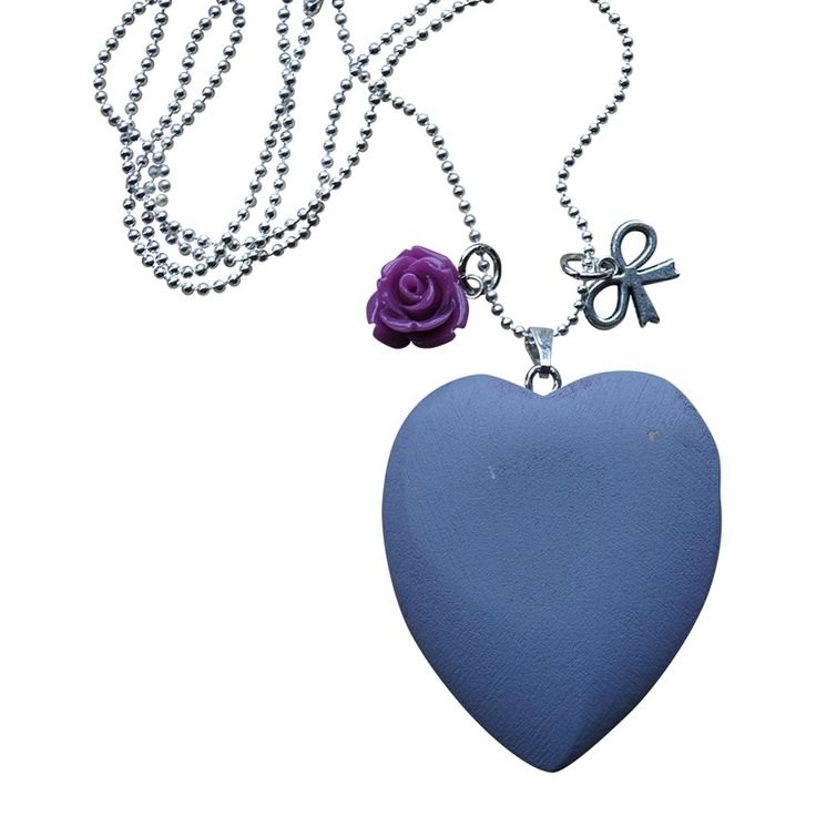 Ketting WOODEN LOVE - Purple Grey