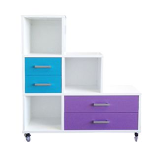 URBAN Staggered 6 Cube (Snowdrift White), Left Hand Single Drawers (Azure), Right Hand Double Drawers (Mardi Gras)