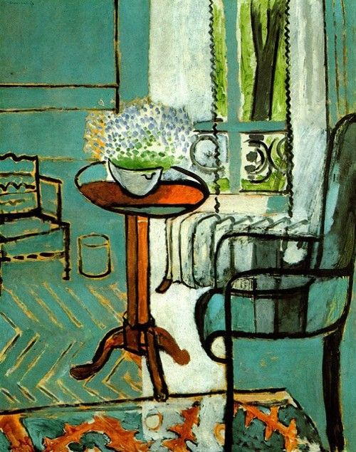 French artist, Henri Matisse (1869–1954) known for his use of color. He was a draughtsman, printmaker, & sculptor, but is known primarily as a painter.  Although he was initially labelled a Fauve (wild beast), by the 1920s he was increasingly hailed as an upholder of the classical tradition in French painting ~ I love the combination of russet and greenish blue.