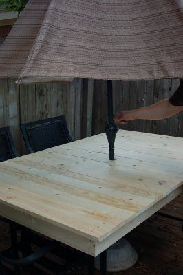 DIYP-ReCreating a Patio Table — We are THAT Family, cover a glass table with a wooden top