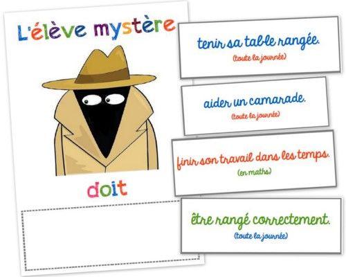 L'élève mystère: idée sympa pour que tous progresse sur le plan comportement