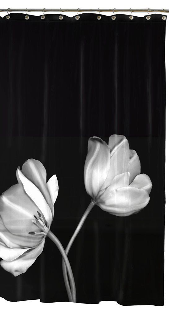 Best Shower Curtains Images On Pinterest Bathroom Ideas - Black and white flower shower curtain