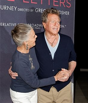 Ali MacGraw and Ryan O'Neal attend the curtain call for 'Love Letters' at Wallis Annenberg Center for the Performing Arts on October 14, 2015 in Beverly Hills, California.