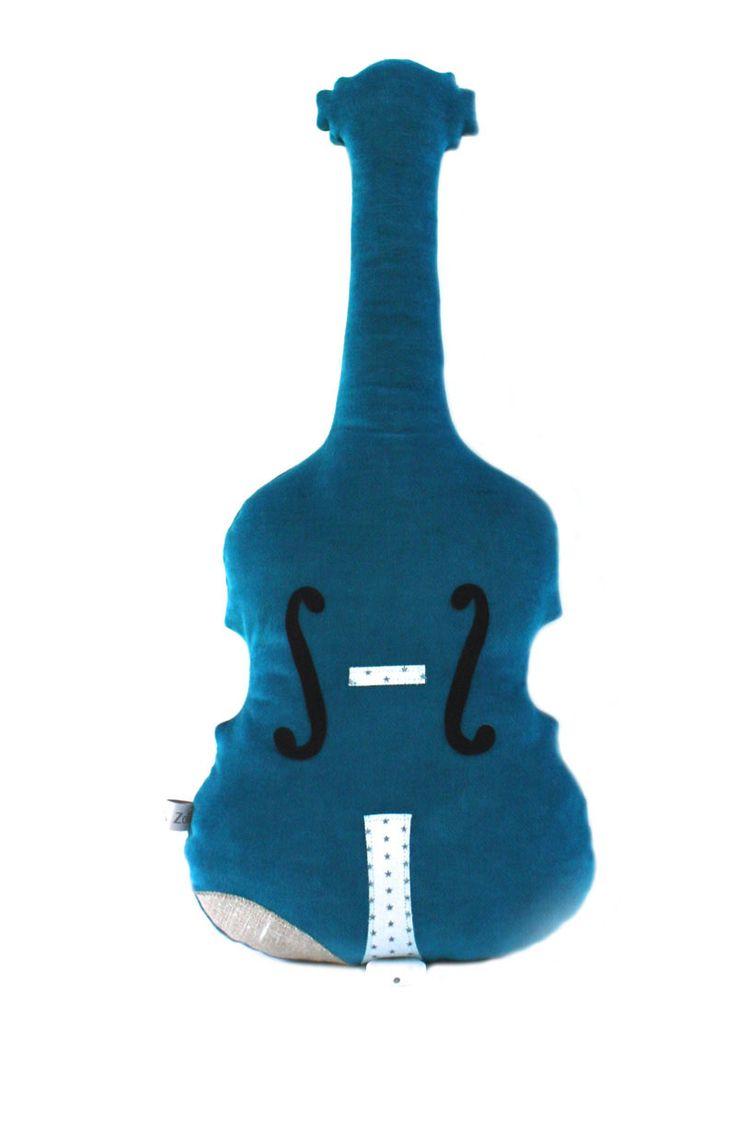 Violon musical en velours bleu pétrole, berceuse. : Chambre d'enfant, de bébé par caro-et-zolie