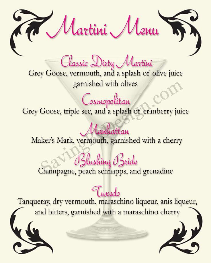 Более 25 лучших идей на тему «Martinis menu» на Pinterest - free drink menu template