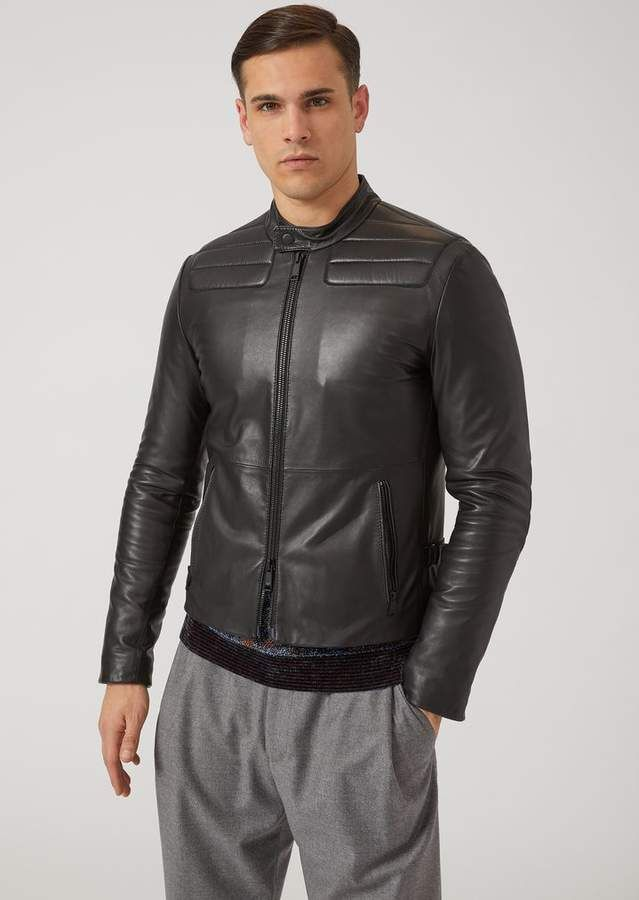 b47b80657 Emporio Armani Nappa Leather Biker Jacket With Padded Shoulders And ...