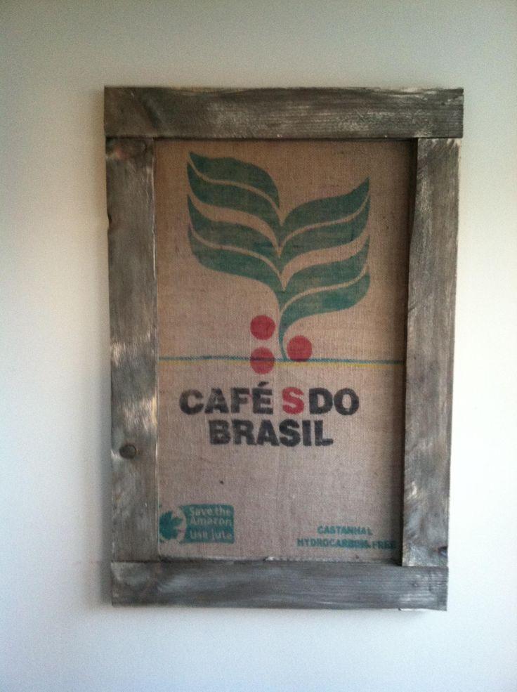 Repurposed burlap coffee bean bags, painted/distressed wood…