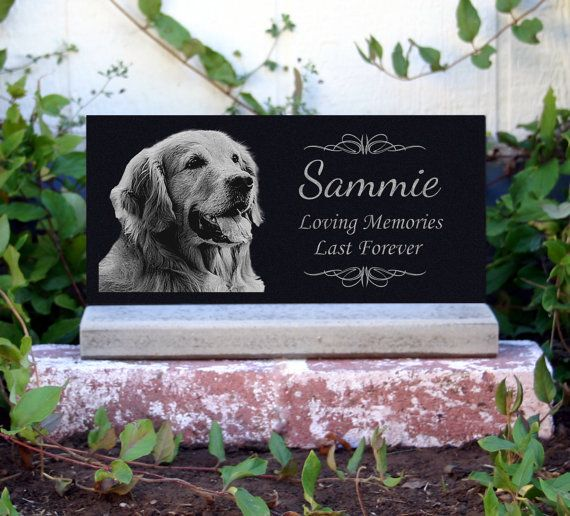 $50 Pet Memorial Stone Pet Grave Marker  With **Base Stand** Granite Headstone Customized with YOUR Pets Photo.