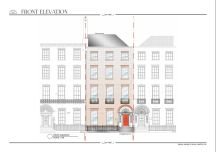 Front Elevation -  Renovation of Georgian Townhouse. Photoshop; Hand-drawn; Revit, Indesign.