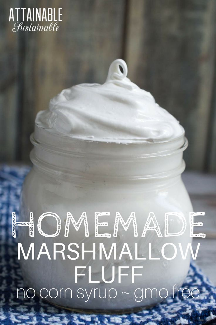 Homemade marshmallow fluff recipe with natural ingredients. No corn syrup, non-gmo. Use it in holiday fudge recipes or in a peanut butter fluff sandwich.